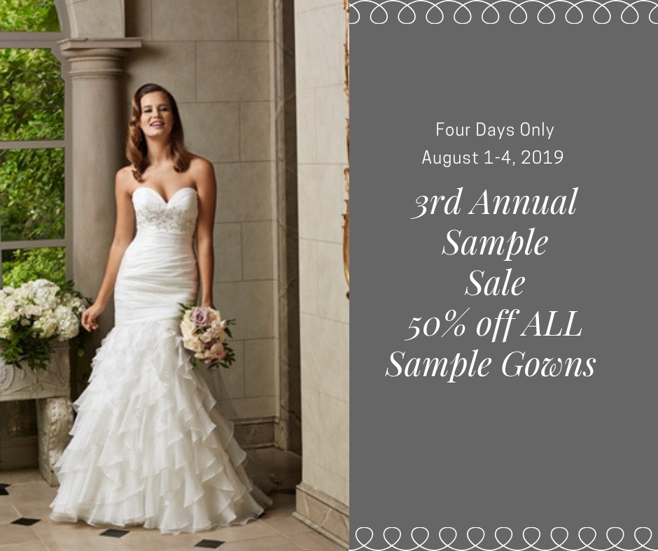 Ad for Sample Sale with model wearing white mermaid dress. Strapless with sweetheart neckline